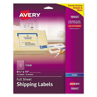 Avery Clear Easy Peel Mailing Labels Inkjet 8 12 X 11 10pack 18665