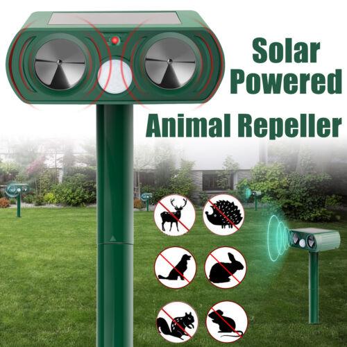 Solar Ultrasonic Animal Repeller Dog Cat Skunk Deer Raccoon Repellent for Garden
