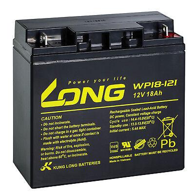 12V 18Ah LONG WP18-12 SHR VdS Akku AGM GEL Blei Batterie Rasen Aufsitzmäher 17Ah ()