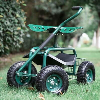 Green Outdoor Garden Swivel Seat Rolling Wheels Weeding Chair Planting Yard Lawn