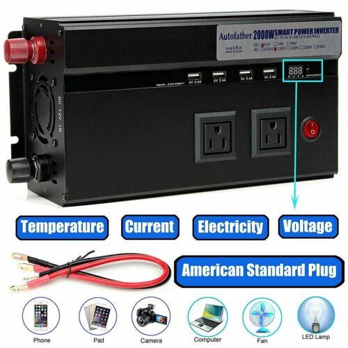 2000W /4000 Watt Peak Power Inverter DC 12V to AC 120V For R