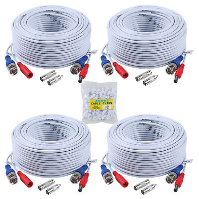 ANNKE 4x 100ft White Video Power Cable BNC RCA Wire for Security Camera System