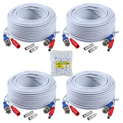 ANNKE 4x 100ft White Video Power Cable BNC RCA Wire for Secu