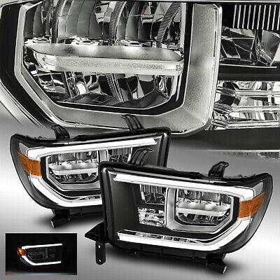 Fit 2007-2013 Toyota Tundra Full LED Sequoia Black Headlights Pair w/LED DRL 2010 Toyota Tundra Led