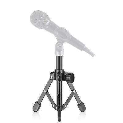 Foldable Iron Desktop Microphone Stand Tabletop Mini Tripod Black