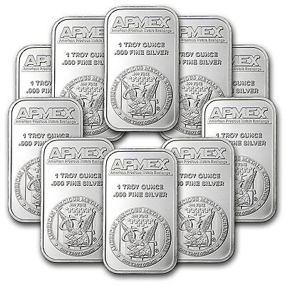 1 oz APMEX Silver Bar - Lot of 10