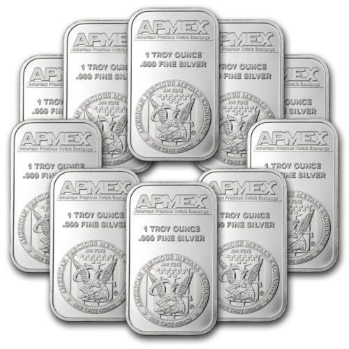 1 oz APMEX Silver Bar – Lot of 10 – SKU #81774