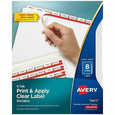Avery 8-Tab Binder Dividers, Easy Print & Apply Clear Label