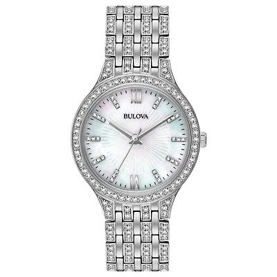 Bulova Women's Quartz Crystal Accents Silver-Tone Bracelet 32mm Watch 96L242