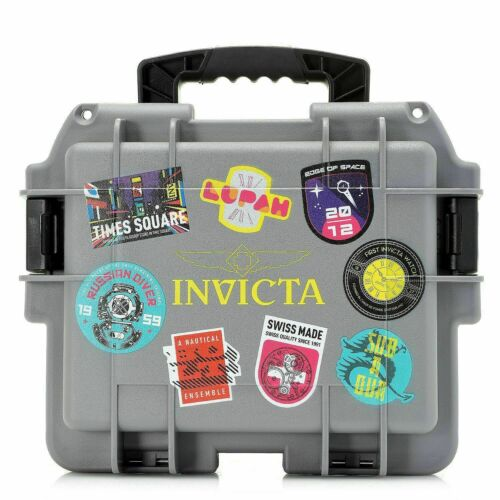 NEW Invicta GREY 8 Slot Case Waterproof Shockproof Patch Multi Color Watch-RARE