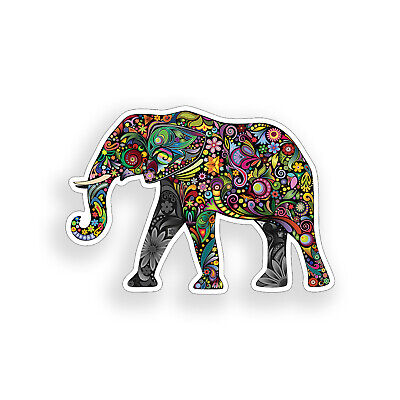 Colorful Flower Elephant Sticker Floral Laptop Car Vehicle Window Bumper Decal - Elephant Coloring