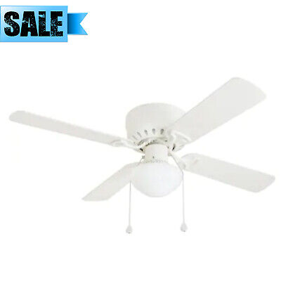 HARBOR BREEZE 42 IN WHITE FLUSH MOUNT INDOOR CEILING FAN WITH LIGHT KIT ARMITAGE Glass Flush Mount Fan