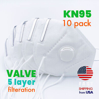 10 Pack Kn95 Protective Face Mask With Exhalation Valve Safety Respirator