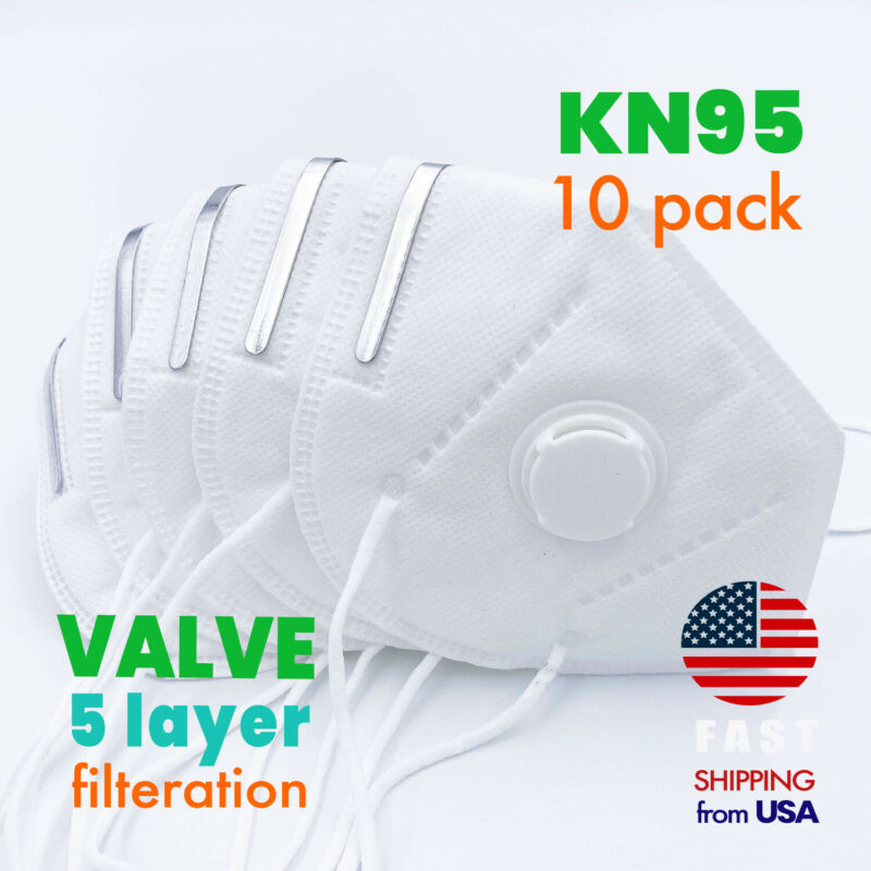 [10 PACK] KN95 Protective Face Mask with Exhalation VALVE Safety Respirator