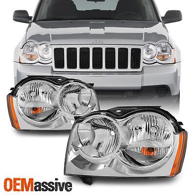 Fit 05-07 Jeep Grand Cherokee Amber Chrome Headlights Front Lamps Replacement - Jeep Grand Cherokee Headlight Replacement