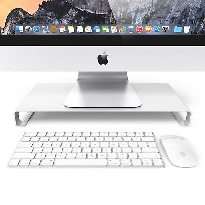 Monitor Desk Table Riser Stand For Apple Imacs and PC Computers - SILVER