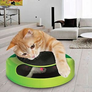 CAT KITTEN CATCH THE MOUSE PLUSH MOVING TOY SCRATCHING CLAW CARE MAT PLAY TOY