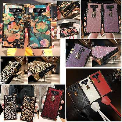 Fashion Note (Samsuang Note9 S10e S8 Fashion Leopard Leather Grid Square Shockproof Case)