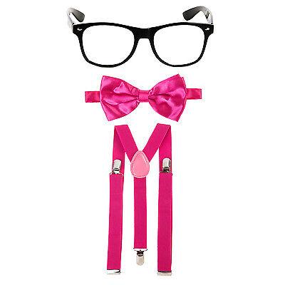 Geek Nerd Bowtie Fancy Dress Costume w/ Glasses + Bow Tie + Braces - Hot Pink