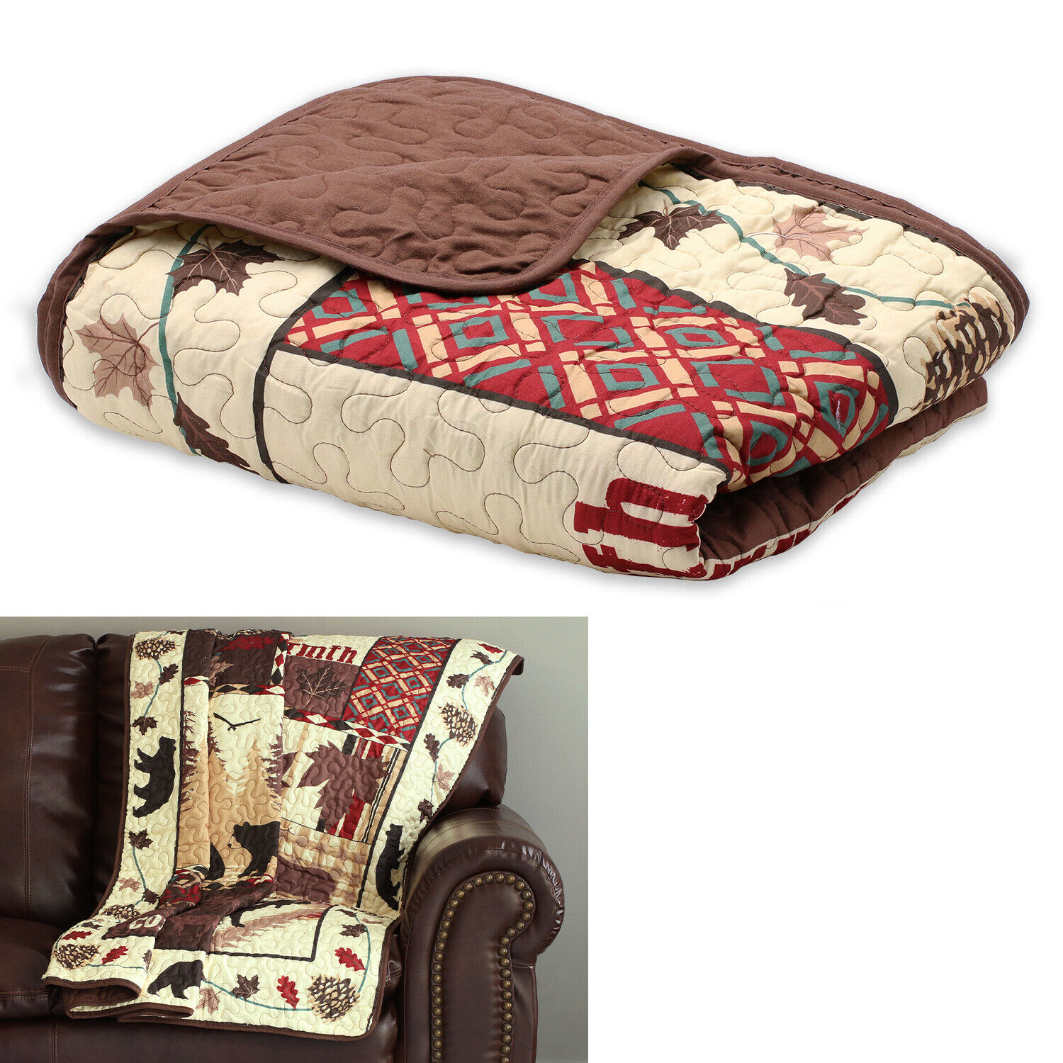 Rustic Bear Cabin Lodge Reversible Quilted Throw Blanket 50î x 60î, Brown Red Bedding