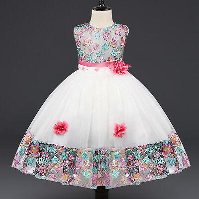 Flower Girl's Floral-Embroidered Pearl Embellished Evening Dress Up 2-8 Y ZG8](Girl Frock Dress Up)