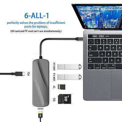 USB C Hub Type C Adapter HDMI USB 3.0 Splitter Card Reader Computer Data for Pro