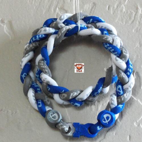Phiten Triple Braid Custom: Gray/RoyalBlue/White