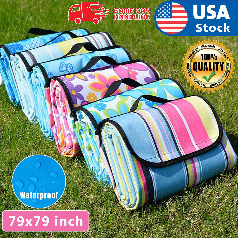 79″x79″ Waterproof Picnic Mat Blanket Pad Outdoor Folding Camping Beach Blanket Home & Garden