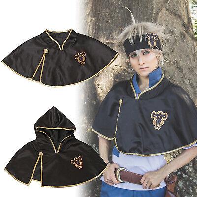 Black Hooded Cape Costume (Black Clover Bull Asta Noell Silva Hooded Short Black Cape Cosplay Costume)