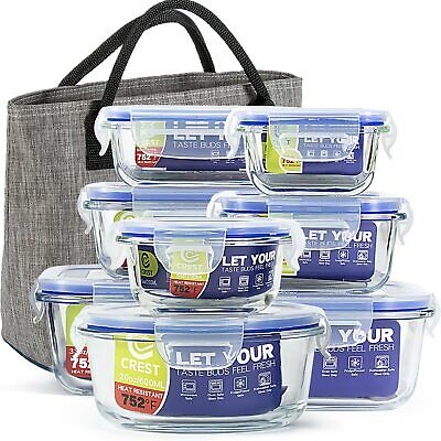 [8-Pack+Lunch Bag] Glass Containers with Lids for Food Storage Airtight-BPA Free (Containers For Storage)