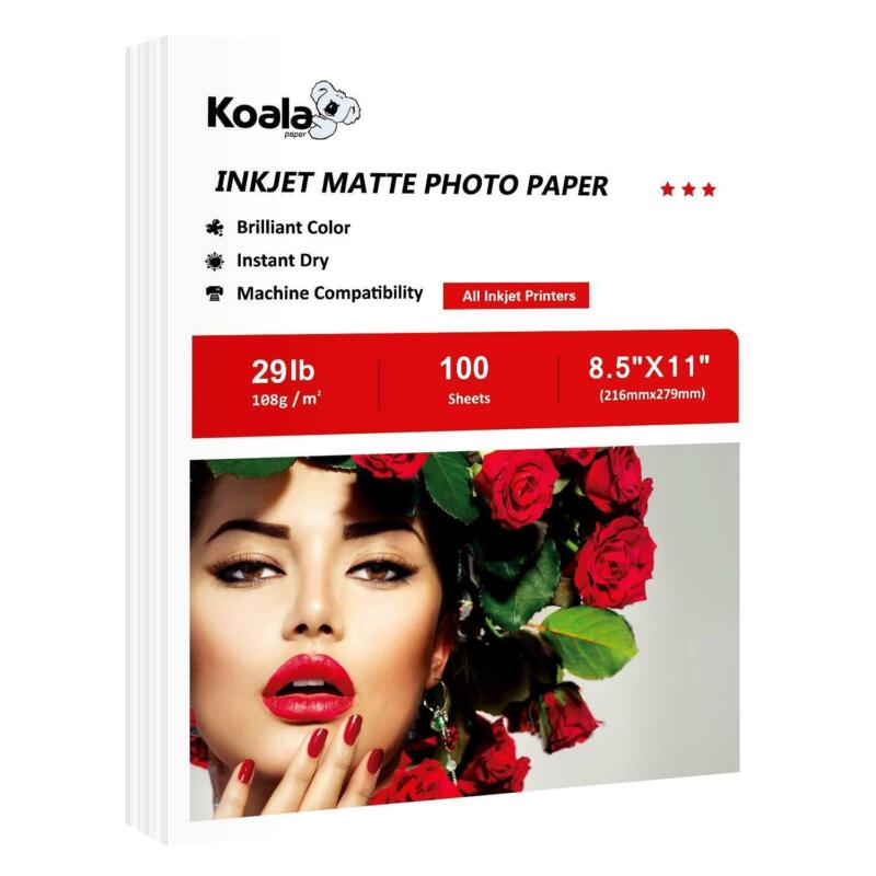 100 Sh Koala 8.5x11 Matte 6 Mil Inkjet Printer Paper Photo HP EPSON Presentation