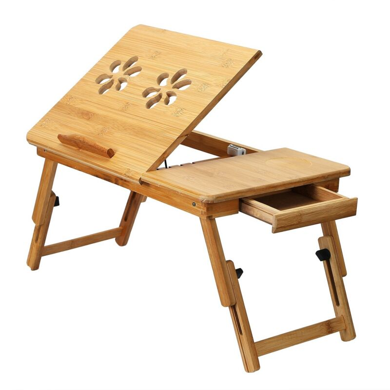 Adjustable Portable Bamboo Laptop Table Stand Lap Sofa Bed Lazy PC Notebook Desk