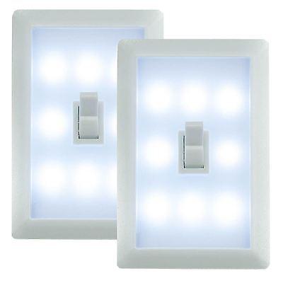 2 x LED Battery Operated Switch Night Light Cordless Bright Cob Led Adhesive