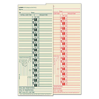 TOPS Time Card for Lathem Bi-Weekly Two-Sided 3 1/2 x 9 500/Box (Lathem Bi Weekly)