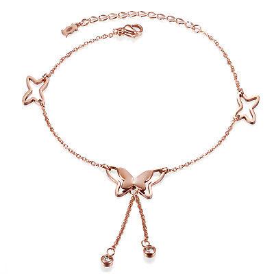 Women's Rose Gold Tone Stainless Steel Anklet Butterfly Tassel Bracelet Chain