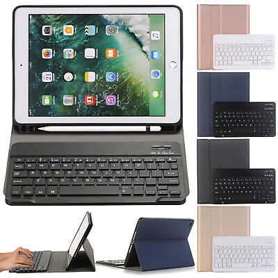 Smart Bluetooth Keyboard Leather Stand Case Cover W/Pencil Holder For iPad 9.7