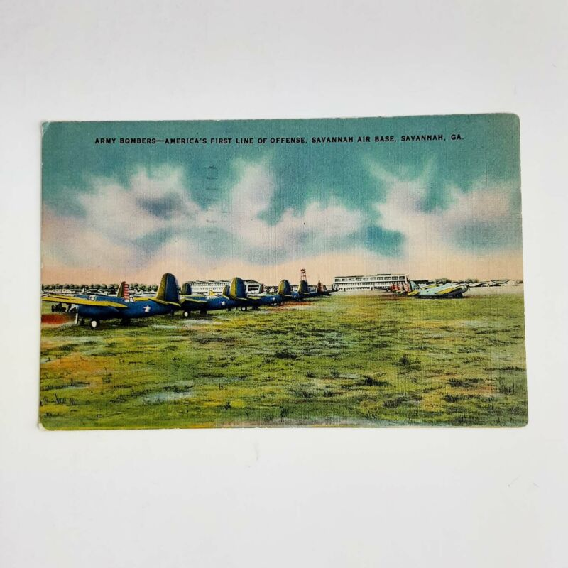 Original Authentic 1944 GI Post Card Army Bombers to Molenaar Harley-Davidson