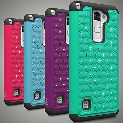 Diamond Bling Hyrid  Phone Cover Case for LG Stylus 2/ G Stylo 2/ Stylus 2 V ()