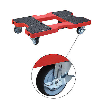 Panel Cart Dolly 1500 Lb Capacity Heavy Duty Platform Truck Red 2 Locking Wheels
