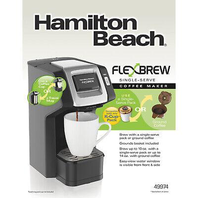 Hamilton Beach Flexbrew Single Serve Grind and Brew Ground Coffee Maker, Black (Grind And Brew Single Serve Coffee Maker)