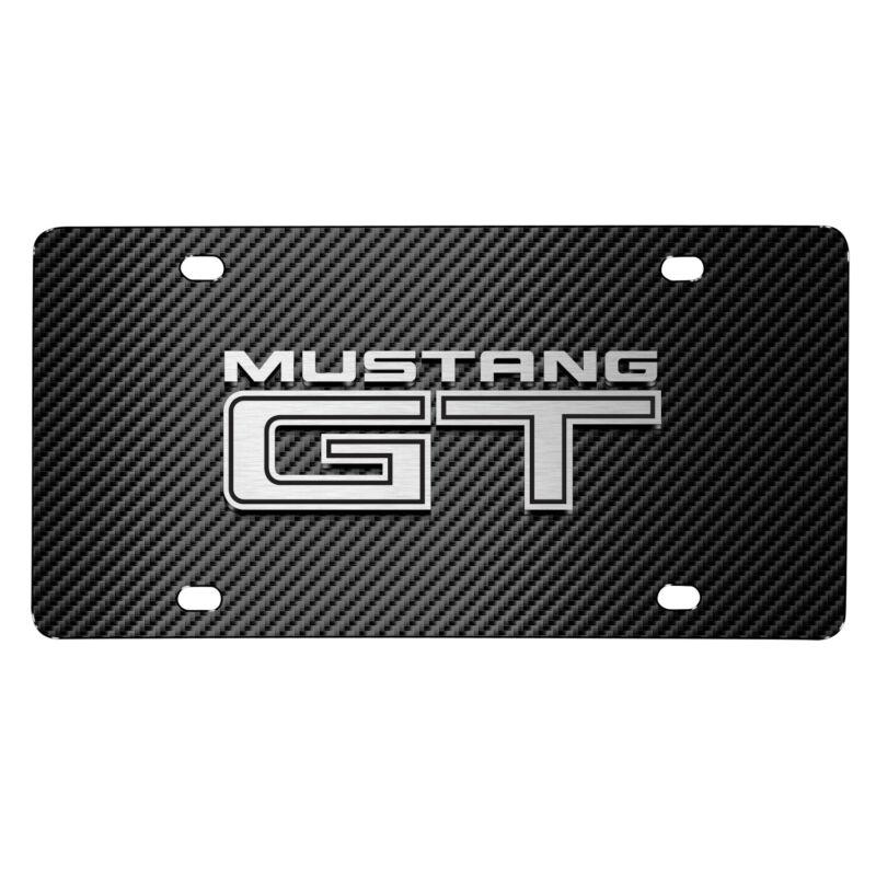 Ford Mustang GT 3D Logo Black Carbon Fiber Patten Stainless Steel License Plate