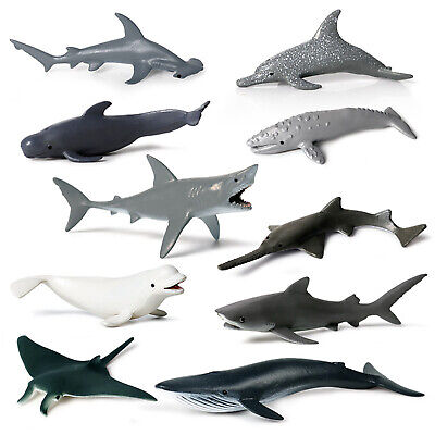 4/6Pcs Great White Shark Whale Dolphin Model Figure Collector Decor Toy Kid - Great White Shark Toys