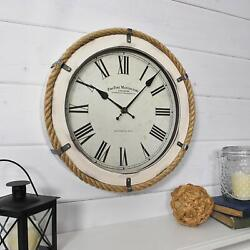 Nice Wall Clock Shabby Chic 14 Nautical Travel Coastal Decor Roman Numerals