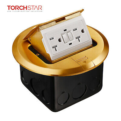 Pop-up Floor Outlet Box With Brass Cover Round Gfci Receptacle Outlet