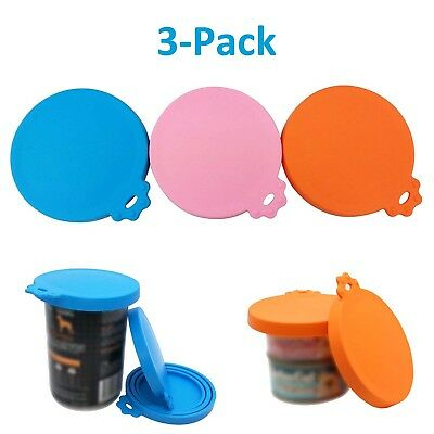 3x Silicone Pet Food Cup Cover Can Lid for Dog and Cat Food Coaster Universal