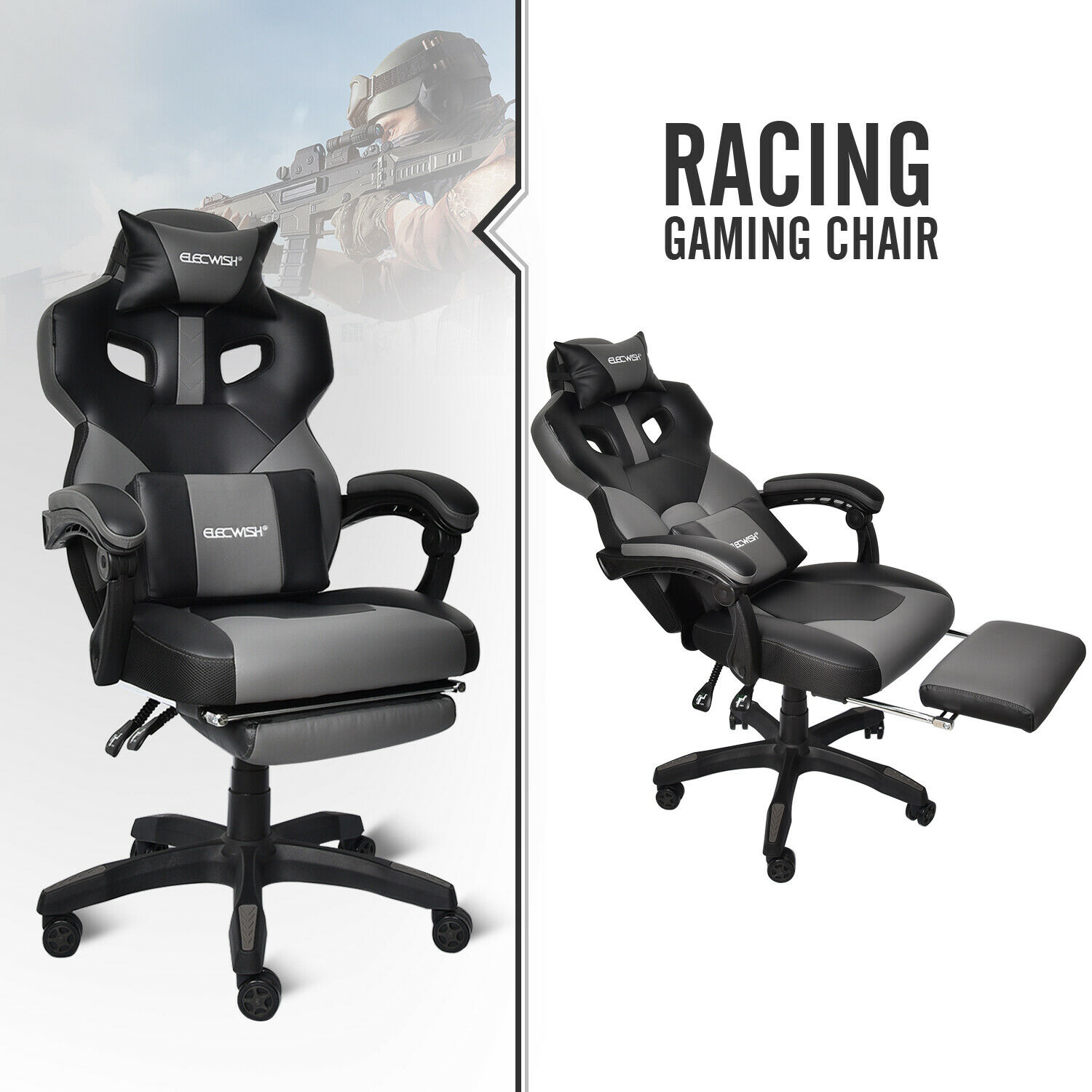 Video Gaming Chair Racing PU Leather Ergonomic Computer Offi