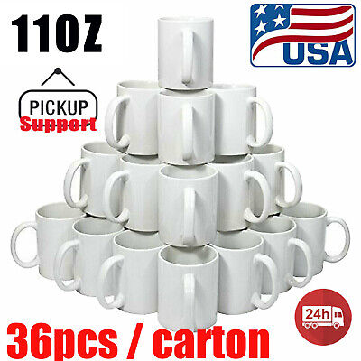 Us 36pcs Blank White Mugs 11oz Sublimation Coated Mugs Heat Press Cups With Box