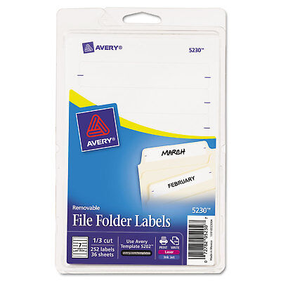Avery Removable 13-cut File Folder Labels Inkjetlaser .66 X 3.44 White 252pk