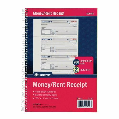 "Adams Money and Rent Receipt Book, 2-Part Carbonless, 7-5/8"" x 11"", Spiral Bound"