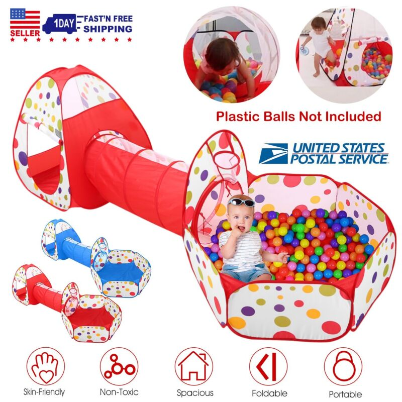 Portable Toddler Kids Play Tent House Crawl Tunnel 3 in 1 Ball Pit In/Outdoor US